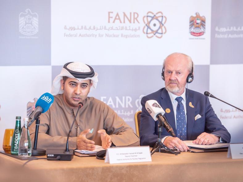 Left-to-right: Ambassador-Hamad-Al-Kaabi, FANR-DG-Christer-Viktorsson