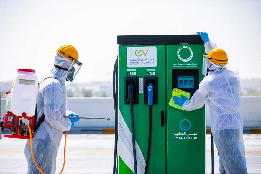 EV charger, DEWA, Disinfection