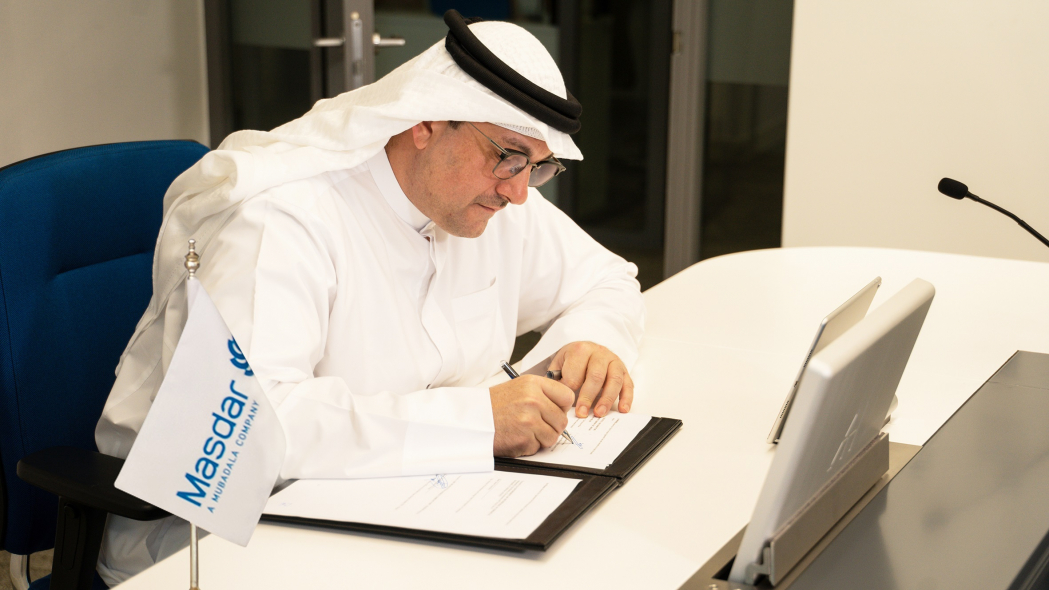 Mohamed Jameel Al Ramahi, Chief Executive Officer of Masdar signing the agreement during a virtual ceremony