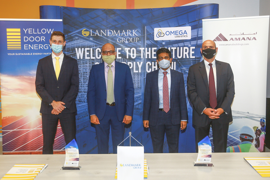The signing ceremony at Landmark Group's OMEGA DC Warehouse in JAFZA, Dubai